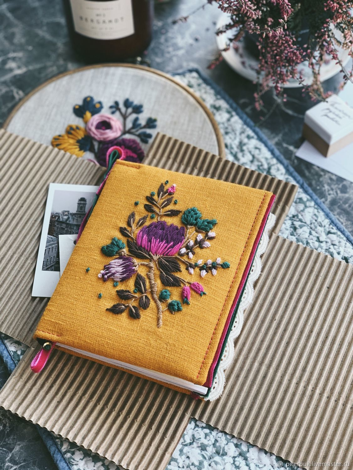 Notepad with embroidery. Len's diary. Beautiful Notepad, Notebooks, St. Petersburg,  Фото №1