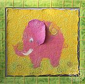 """Картины и панно ручной работы. Ярмарка Мастеров - ручная работа Валяное панно """"Розовый слоник"""" 41х43. Handmade."""