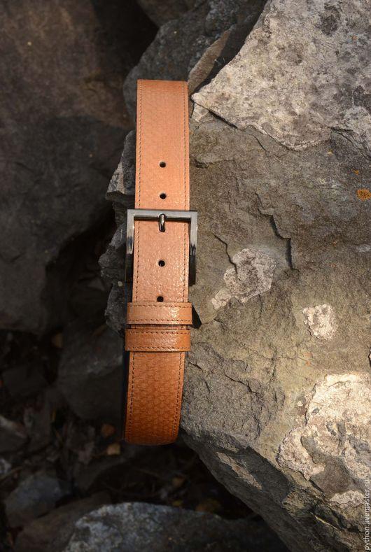 Пояса, ремни ручной работы. Ярмарка Мастеров - ручная работа. Купить Оранжево-коричневый ремень из змеиной кожи. Handmade. Рыжий