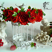Русский стиль ручной работы. Ярмарка Мастеров - ручная работа Ободок из красных роз. Handmade.