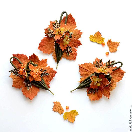 Броши ручной работы. Ярмарка Мастеров - ручная работа. Купить Брошь из кожи Зонтик Осеннее настроение зеленый с рыжим. Handmade.