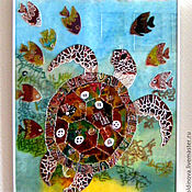 Для дома и интерьера handmade. Livemaster - original item stained glass Turtle. Handmade.