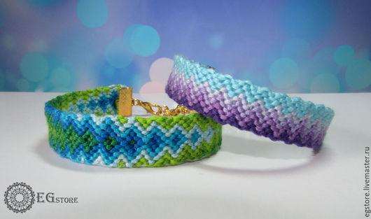 Браслеты ручной работы. Ярмарка Мастеров - ручная работа. Купить Браслет плетеный из мулине Boho-style. Handmade. Разноцветный