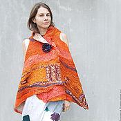 Одежда handmade. Livemaster - original item Vest-poncho-shawl-scarf-stole with brooch. Handmade.