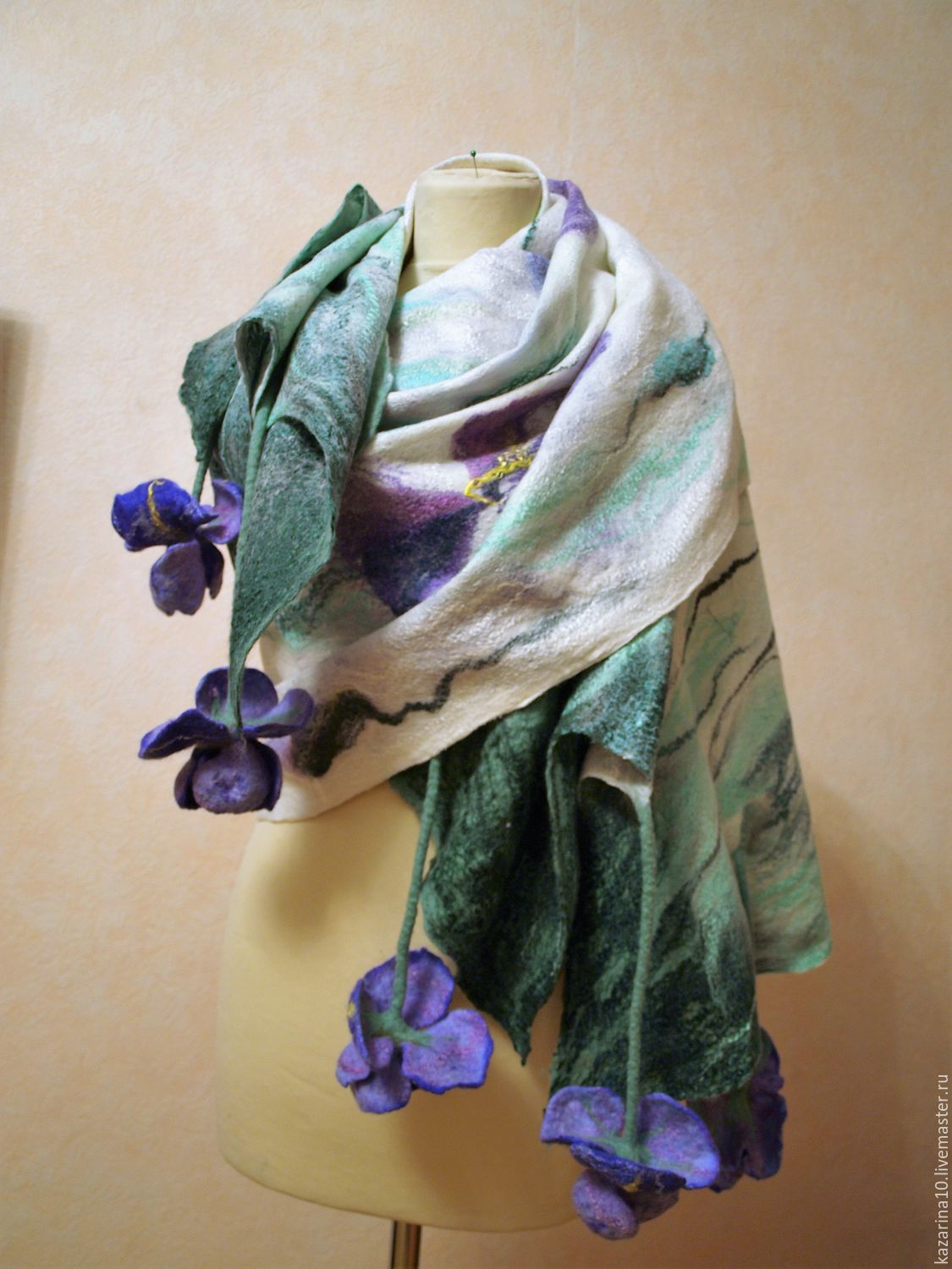 milled stole 'Irises', Wraps, Moscow,  Фото №1