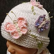"""Работы для детей, ручной работы. Ярмарка Мастеров - ручная работа шапочка """"Бабочки"""". Handmade."""