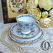 "Винтаж ручной работы. Ярмарка Мастеров - ручная работа Tuscan Чайное Трио ""Love in the Mist"" Англия 1950 -е. Handmade."