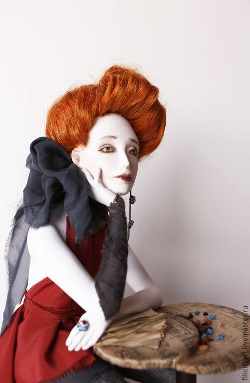 """Коллекционные куклы ручной работы. Ярмарка Мастеров - ручная работа. Купить """"Винил"""""""". Handmade. Авторская кукла, ретро, колонны, акварель"""