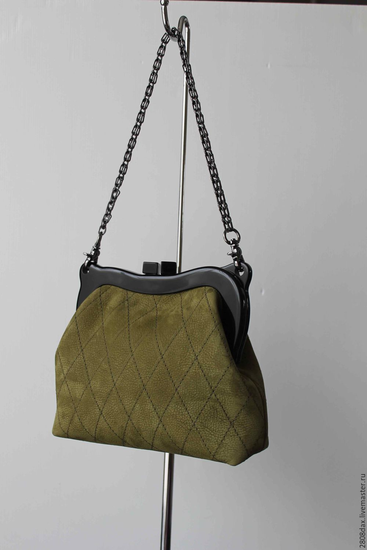 8da202f2a9d77b Online Handbags handmade. Order Suede handbag on the clasp, olive.  Olga'SLuxuryCreation.