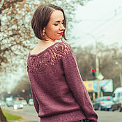 Одежда handmade. Livemaster - original item Jumper with lace yoke and boat neck color dusty lilac. Handmade.