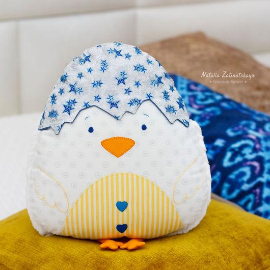Текстиль, ковры ручной работы. Ярмарка Мастеров - ручная работа. Купить Цыпленок, авторская подушка-игрушка, 30 см. Handmade.