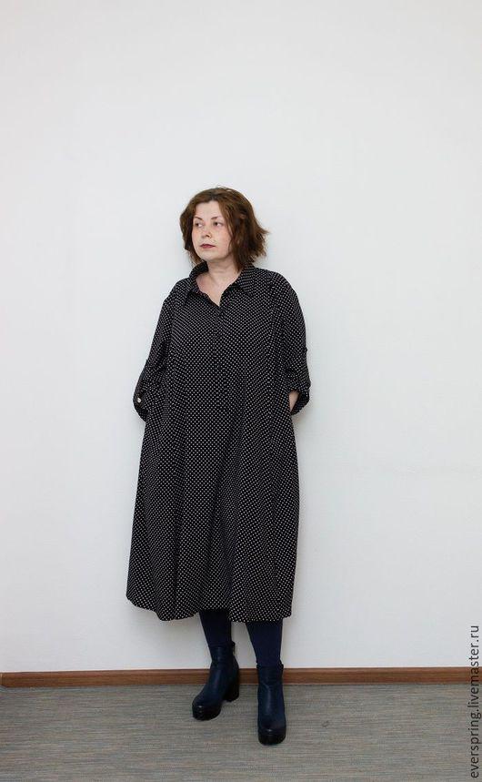 платье рубашка, длинное платье, платье в горошек, чёрное в белый горошек, платье большого размера, свободное платье, платье на весну, летнее платье.