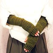 Аксессуары handmade. Livemaster - original item Mitts are stylish and warm)))) Khaki. Handmade.
