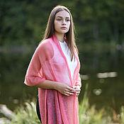 Аксессуары handmade. Livemaster - original item Kid mohair knitted stole coral pink. Handmade.