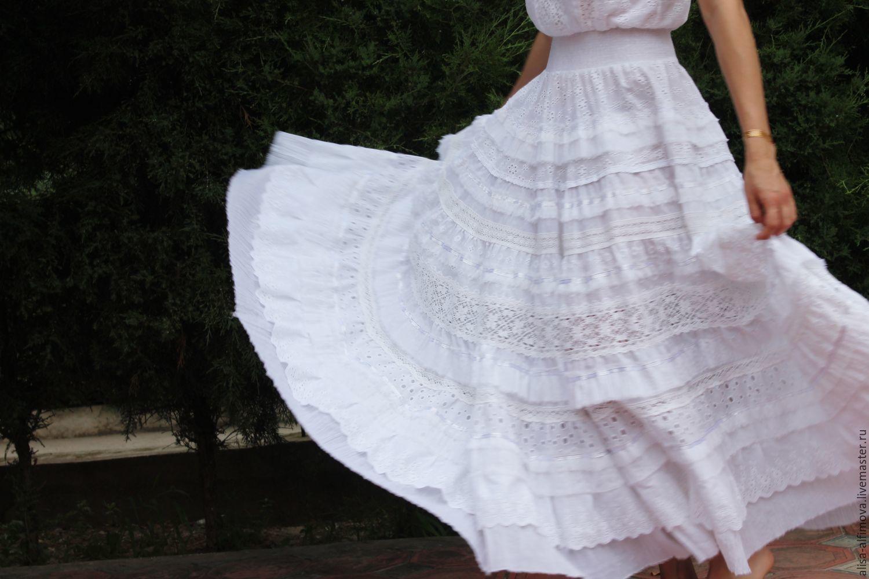 "Skirts handmade. Livemaster - handmade. Buy Бохо юбка ""Кружевная история"".Boho, solid, the floor-length skirt, cotton"