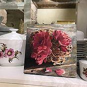 """Картины ручной работы. Ярмарка Мастеров - ручная работа Интерьерная картина """"Пыльная роза"""" акрил, массив липы. Handmade."""