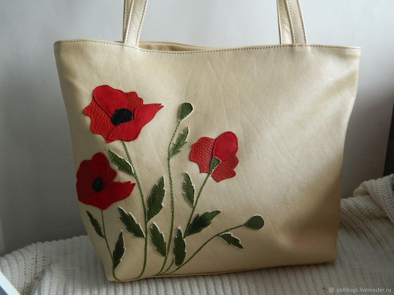 Leather bag. bag with applique.poppies beige u2013 shop online on