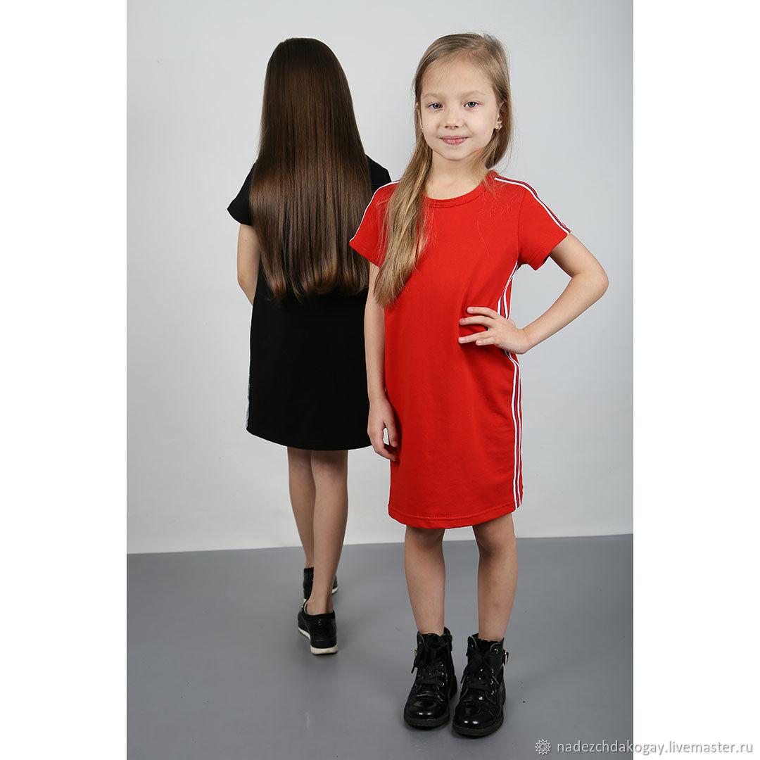 Одежда для девочек, ручной работы. Ярмарка Мастеров - ручная работа. Купить Платье красное с лампасами. Handmade. Платье, одежда для детей
