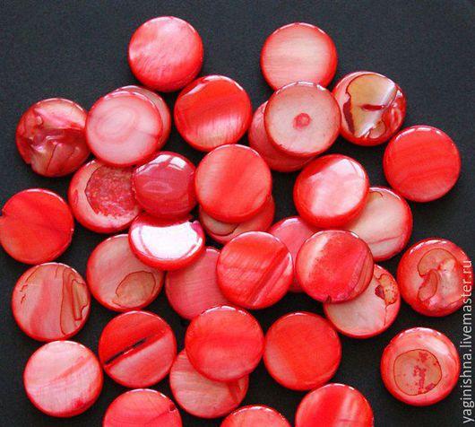 Для украшений ручной работы. Ярмарка Мастеров - ручная работа. Купить Перламутр красный бусины, бусины-круг, перламутр красный. Handmade.