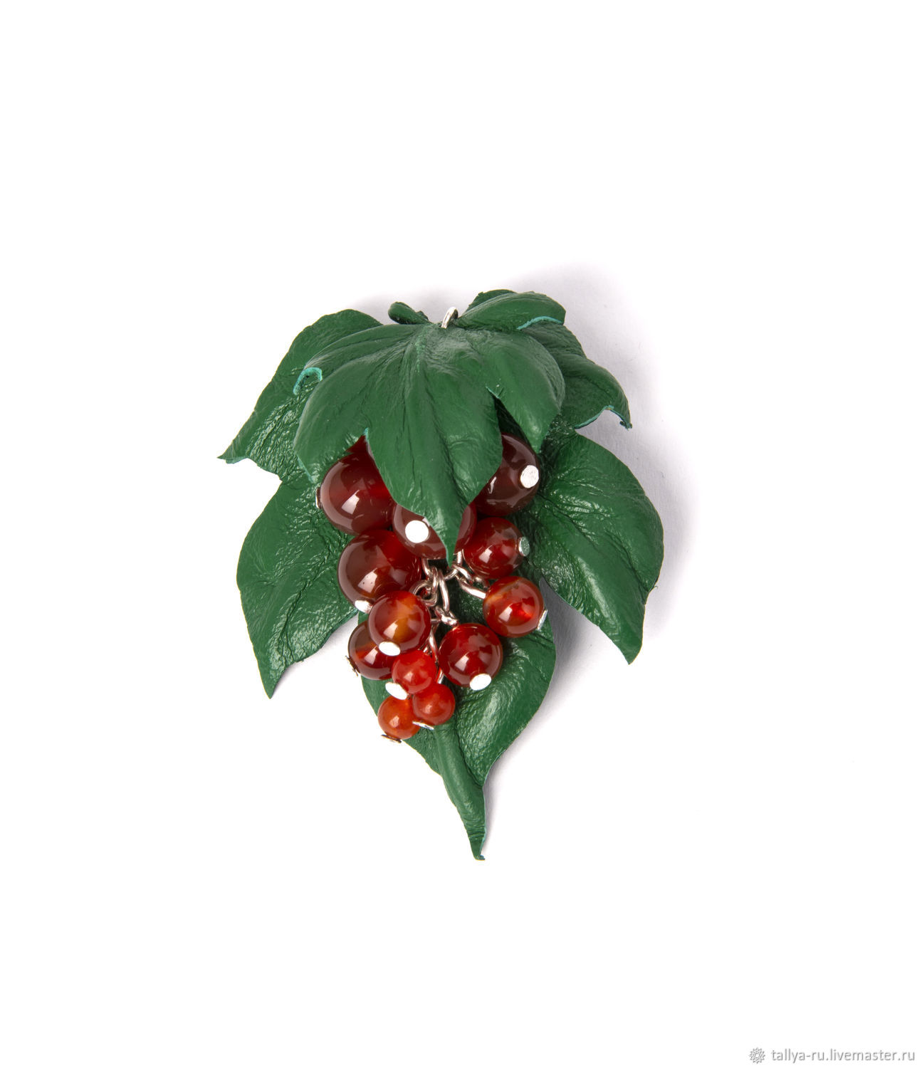 The brooch is a Sprig of currant and leather beads, Brooches, Tver,  Фото №1