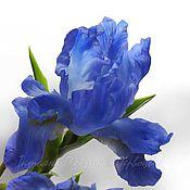 Цветы и флористика ручной работы. Ярмарка Мастеров - ручная работа Рыцарь голубых кровей... ( ирис. флористическая полимерная глина). Handmade.