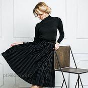 Одежда ручной работы. Ярмарка Мастеров - ручная работа Юбка-плиссе черная. Handmade.