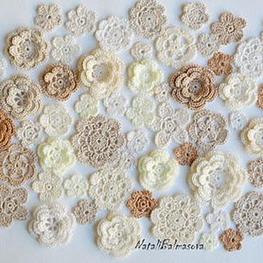 Materials for creativity handmade. Livemaster - original item A large set of knitted flowers 60 PCs Mix. Handmade.