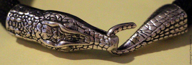 Браслет Кайман Black (искусственная кожа