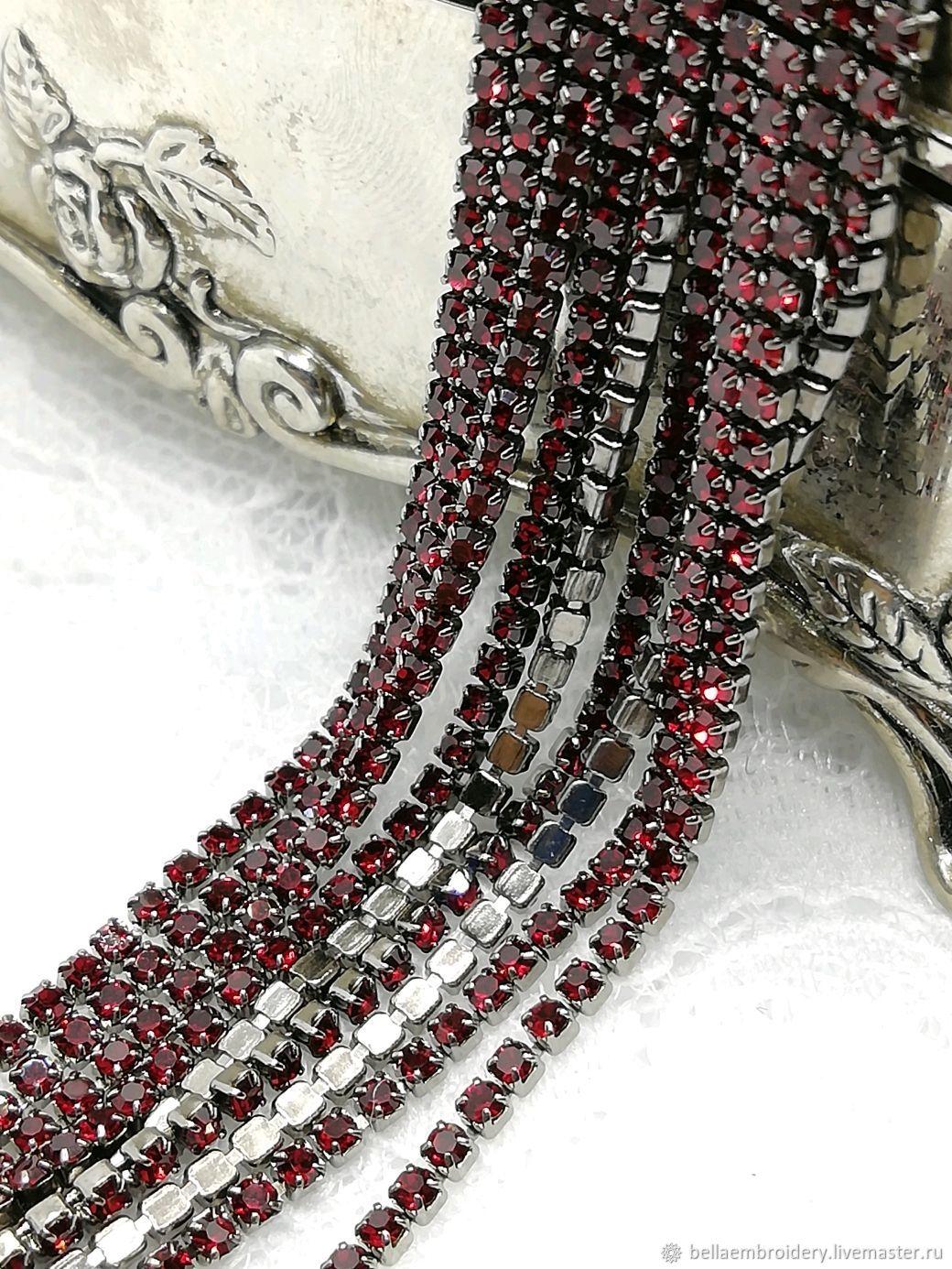 Rhinestone ribbon ruby in a black frame 1,4 mm, Chains, St. Petersburg,  Фото №1