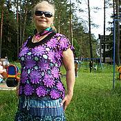 Одежда ручной работы. Ярмарка Мастеров - ручная работа Туника цветами фиолетовая. Handmade.