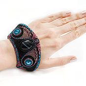Украшения handmade. Livemaster - original item Beaded bracelet Carnival agate Swarovski black blue lilac. Handmade.
