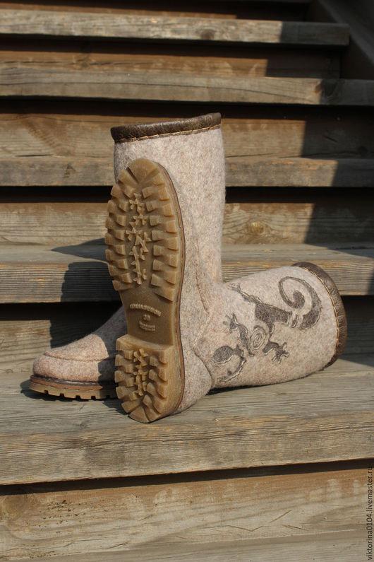 """Обувь ручной работы. Ярмарка Мастеров - ручная работа. Купить Сапожки валяные """"Reptiles"""". Handmade. Валенки для улицы, шерсть"""