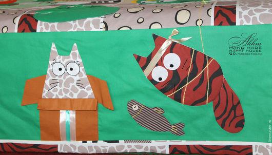 """Текстиль, ковры ручной работы. Ярмарка Мастеров - ручная работа. Купить Покрывало лоскутное, одеяло лоскутное """"Коты"""". Handmade. Зеленый"""