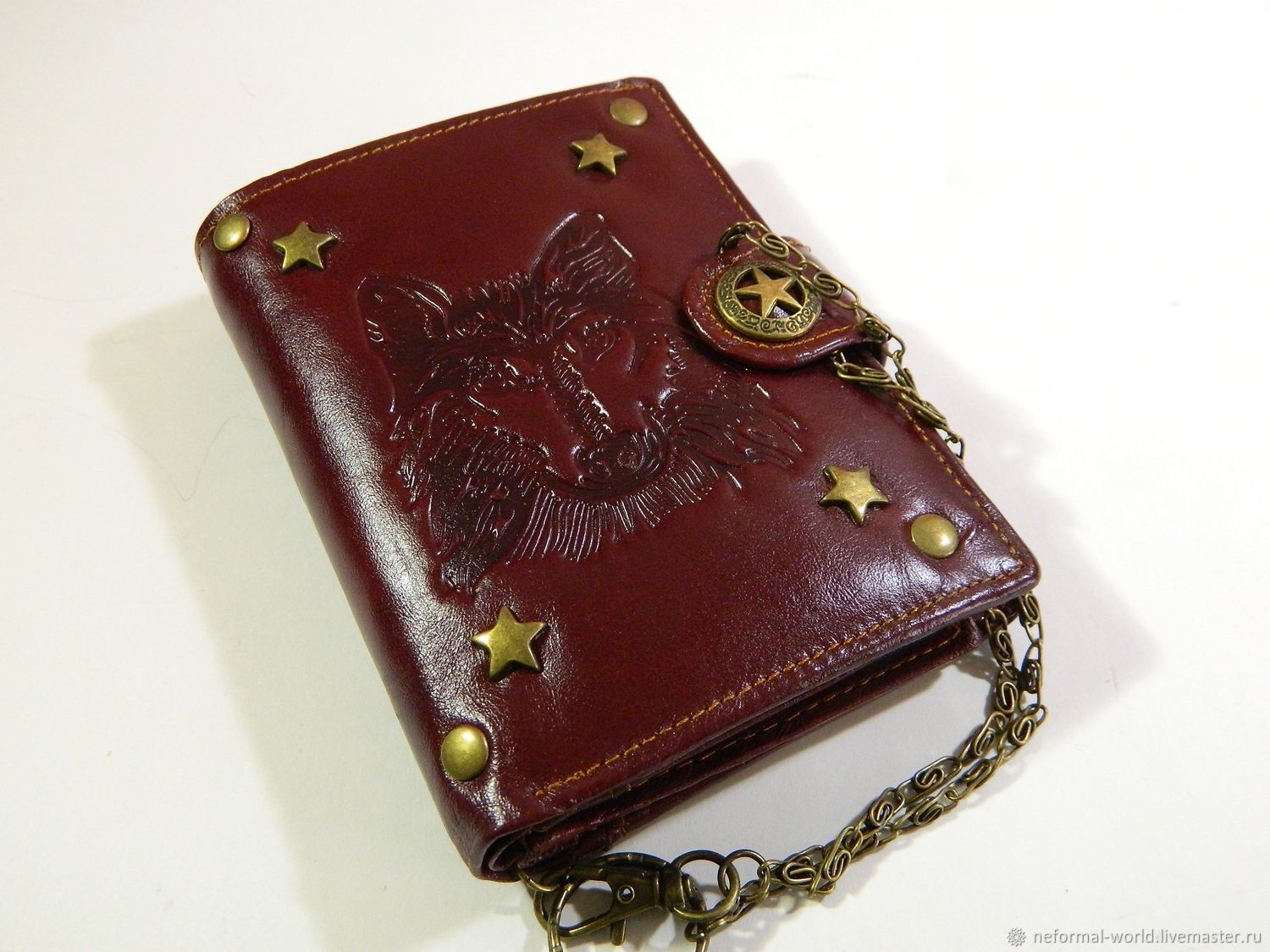 Brutal steampunk 'STAR WOLF' wallet made of genuine leather, Wallets, Saratov,  Фото №1