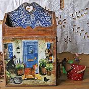 Для дома и интерьера ручной работы. Ярмарка Мастеров - ручная работа Ключница `` Кошкин дом``. Handmade.