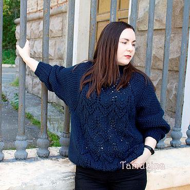Одежда ручной работы. Ярмарка Мастеров - ручная работа Свитер оверсайз для женщины для девушки тёмно-синий. Handmade.