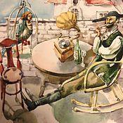 """Картины и панно ручной работы. Ярмарка Мастеров - ручная работа """"Сиеста"""" акварель. Handmade."""