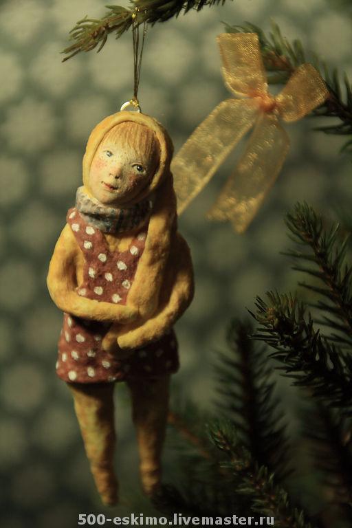 Новый год 2017 ручной работы. Ярмарка Мастеров - ручная работа. Купить Зайка на ёлку. Handmade. Заяц, игрушка на елку, paperclay