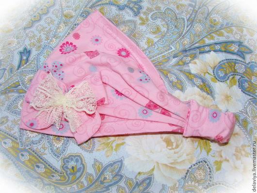 """Банданы ручной работы. Ярмарка Мастеров - ручная работа. Купить Косынка-бандана для девочки """"Розовые Бабочки"""" от Делавьи. Handmade. Розовый"""