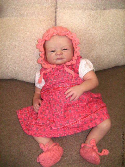 Для новорожденных, ручной работы. Ярмарка Мастеров - ручная работа. Купить Кмплект для кукол реборн. Handmade. Розовый, пинетки для девочки