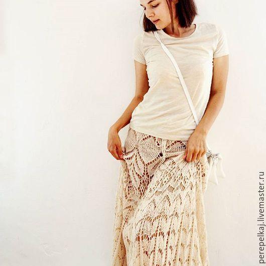 Юбки ручной работы. Ярмарка Мастеров - ручная работа. Купить Вязаная юбка. Handmade. Юбка, бежевая юбка