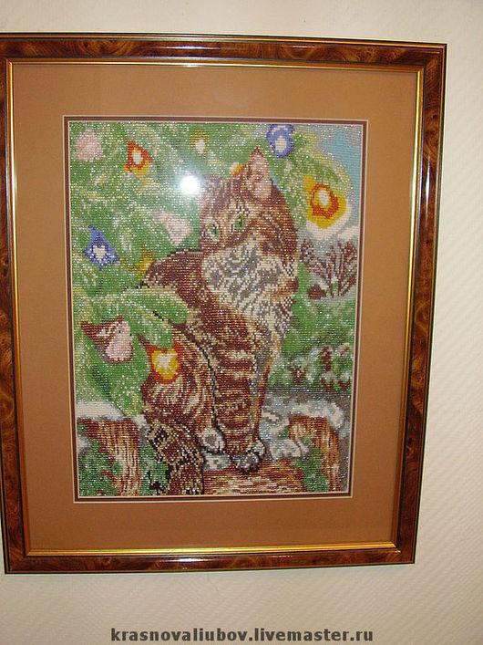 Животные ручной работы. Ярмарка Мастеров - ручная работа. Купить Рождественский кот. Handmade. Картина, бисер, бисер 36 цветов