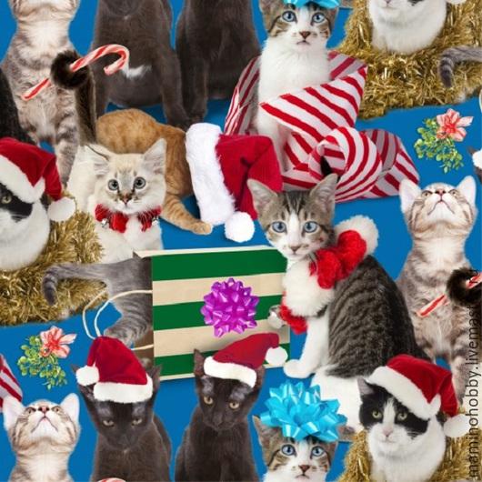 Новогодняя ткань для пэчворка Кошечки