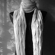 """Аксессуары ручной работы. Ярмарка Мастеров - ручная работа Шарф """"Косы"""", белый/желтый. Handmade."""