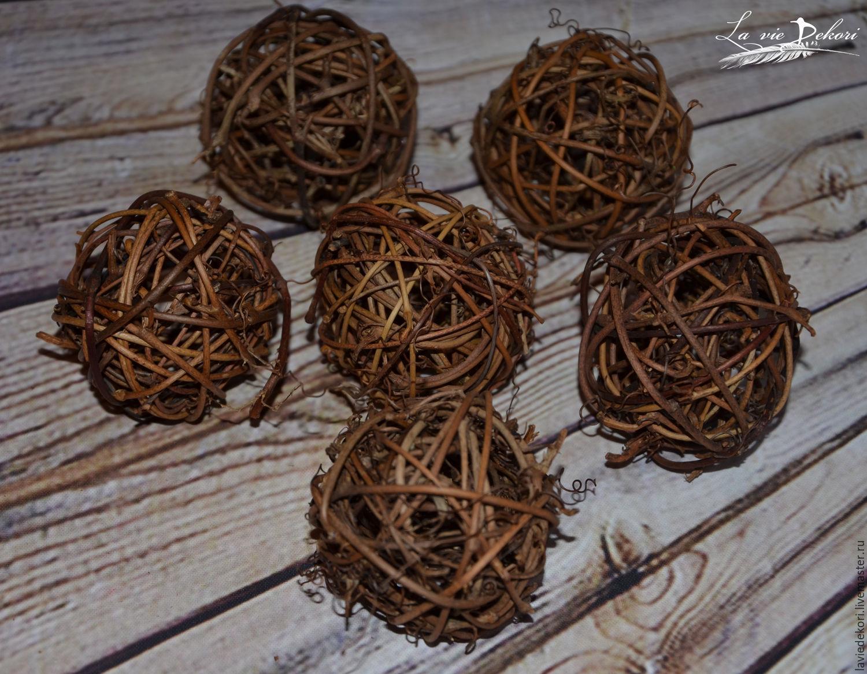 Balls of vines 5 cm, 1 PC, Natural materials, Moscow,  Фото №1