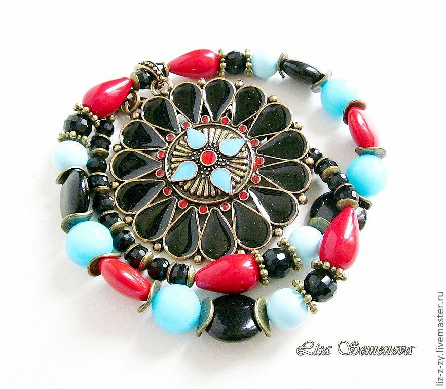 """ручной работы. Ярмарка Мастеров - ручная работа. Купить Ожерелье с подвеской """"Гузель"""". Handmade. Ожерелье, бусы с подвеской, коралл"""