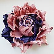"""Украшения ручной работы. Ярмарка Мастеров - ручная работа брошь из кожи """"Розовый вечер"""" украшение. Handmade."""