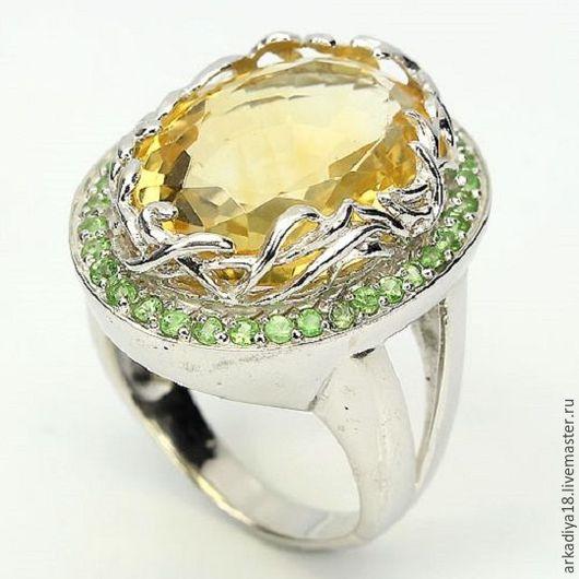Кольца ручной работы. Ярмарка Мастеров - ручная работа. Купить кольцо с желтым цитрином и зелеными сапфирами. Handmade. Лимонный