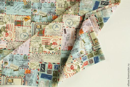 """Шитье ручной работы. Ярмарка Мастеров - ручная работа. Купить Ткань  """"Почтовый коллаж"""". Handmade. Ткани, ткань коллаж, поликоттон"""