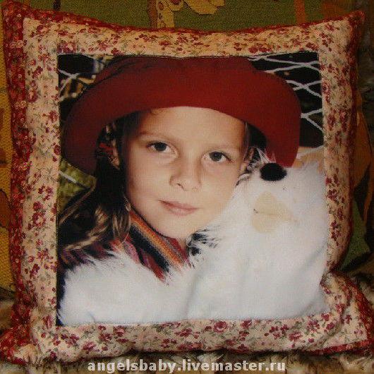Текстиль, ковры ручной работы. Ярмарка Мастеров - ручная работа. Купить Лоскутная подушка с ФОТО. Handmade. Оригинальный подарок
